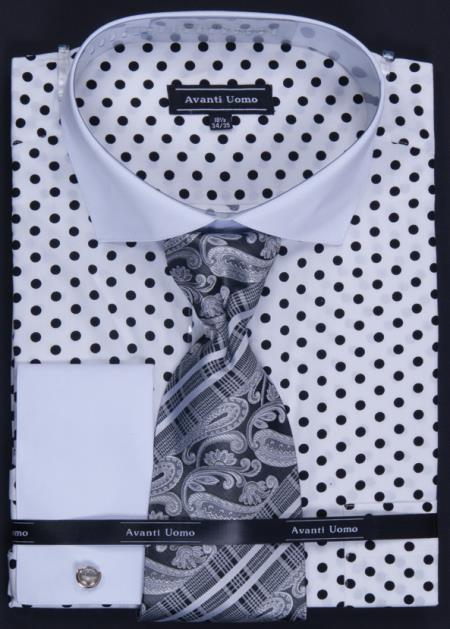 MensUSA.com 100 Cotton French Cuff Dress Shirt Tie Hanky and Cuff Links Polka Dot White Black(Exchange only policy) at Sears.com