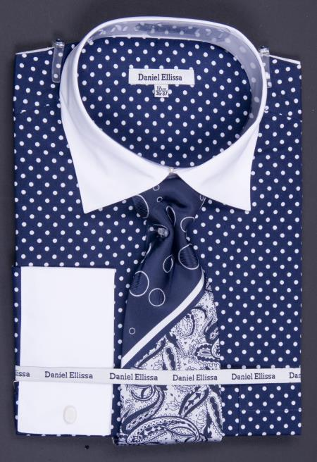 MensUSA.com 100 Cotton French Cuff Dress Shirt Tie Hanky and Cuff Links Polka Dot Two Tone Navy(Exchange only policy) at Sears.com