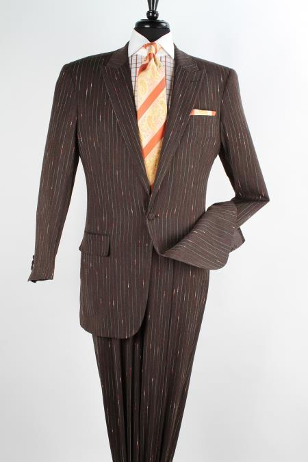 SKU#WQZ32 Mens 2 Piece 100% Wool High Fashion Design Suit - Peak Lapels $139
