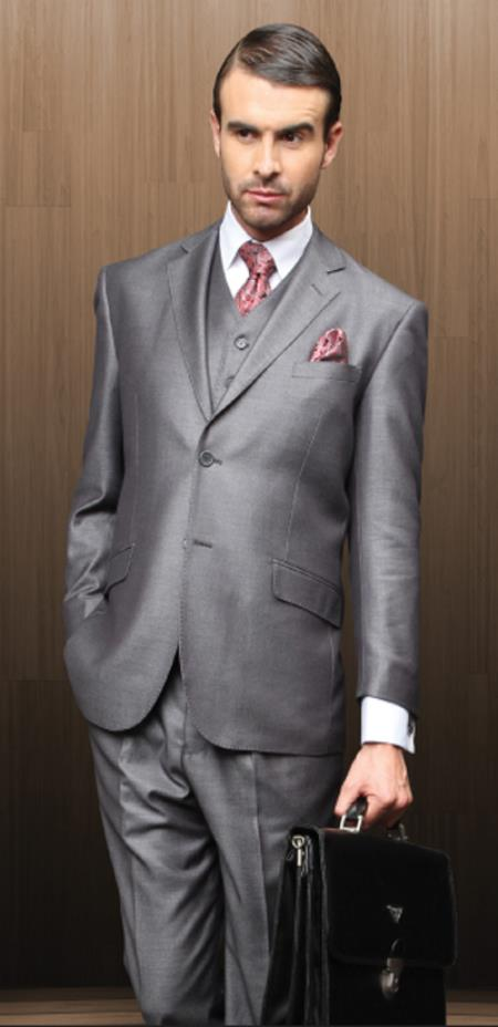 SKU#MAW21 Classic 3pc 2 Button Gray Suit Super 150