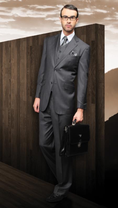 SKU#UHN53 Classic 3PC 2 Button Suit Super 150s 1 Pleat Pants Italian Fabric Charcoal $189