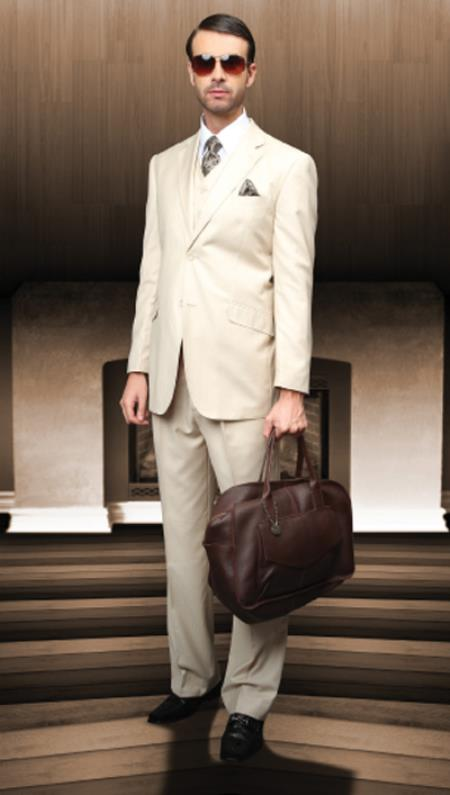 SKU#REH99 Classic 3PC 2 Button Sand Light Tan Suit Super 150s 1 Pleat Pants Italian Fabric $249