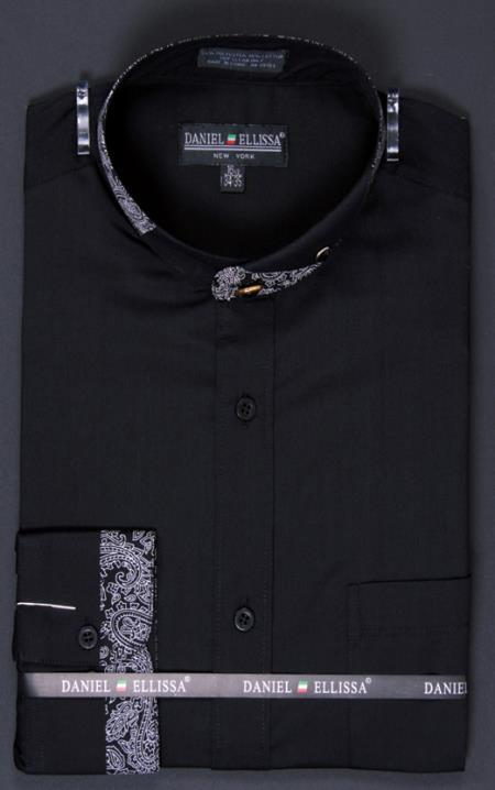 SKU#VT8266 Mens Banded Collar Dress dress shirts Mandarin Collarless - Paisley Collar and Cuff Detail Black $65