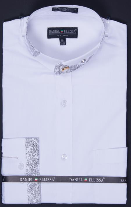 SKU#MW7483 Mens Banded Collar Dress Shirt - Paisley Collar and Cuff Detail White $65