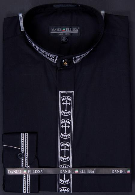 SKU#FBV88 Mens Banded Collar Clergy dress shirts without collars Mandarin Collarless - Cross Embroidery Black