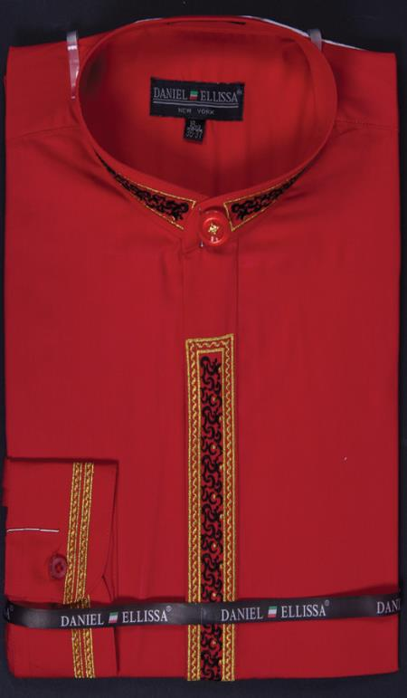 SKU#RFV54 Mens Banded Collar Embroidered dress shirts Mandarin Collarless - Fancy Stitching Red $65