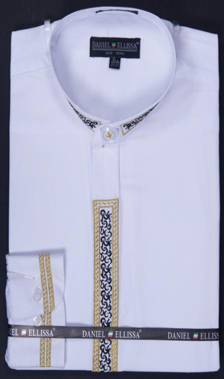 SKU#WHT22 Mens Banded Collar Embroidered dress shirts Mandarin Collarless - Fancy Stitching White