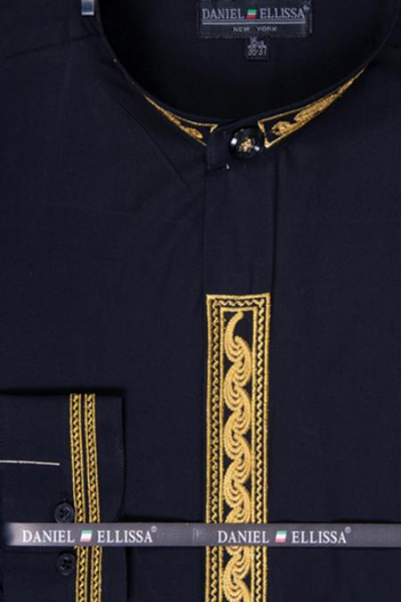 SKU#BKL43 Mens Banded Collar Dress Shirt - Wave Print Embroidery Black/Gold $65