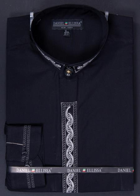SKU#YBM98 Mens Banded Collar Dress Shirt - Wave Print Embroidery Black/Silver $65
