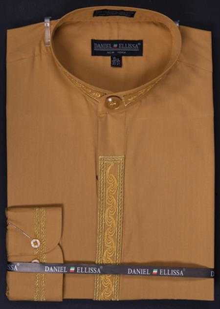 SKU#HNY02 Mens Banded Collar Dress Shirt - Wave Print Embroidery Honey Gold $65