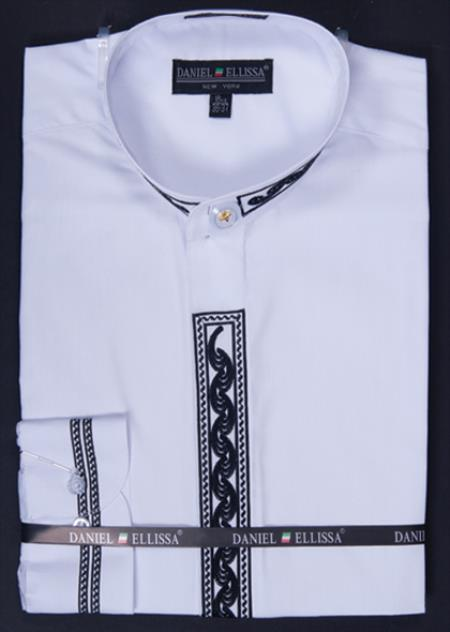 SKU#WEH55 Mens Banded Collar Dress Shirt - Wave Print Embroidery White/Black $65