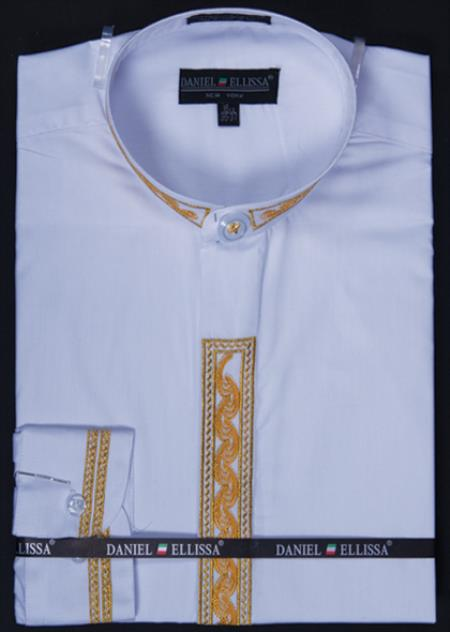 SKU#RVM333 Mens Banded Collar Dress Shirt - Wave Print Embroidery White/Gold $65
