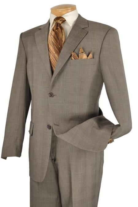 Men's Vintage Style Suits, Classic Suits Executive 2 Piece 2 Button Suit Taupe $139.00 AT vintagedancer.com