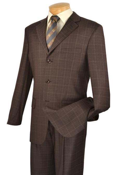 MensUSA Subtle Window Pane Plaid Patterned Elegant To Eye 3 Button Brown Suit at Sears.com