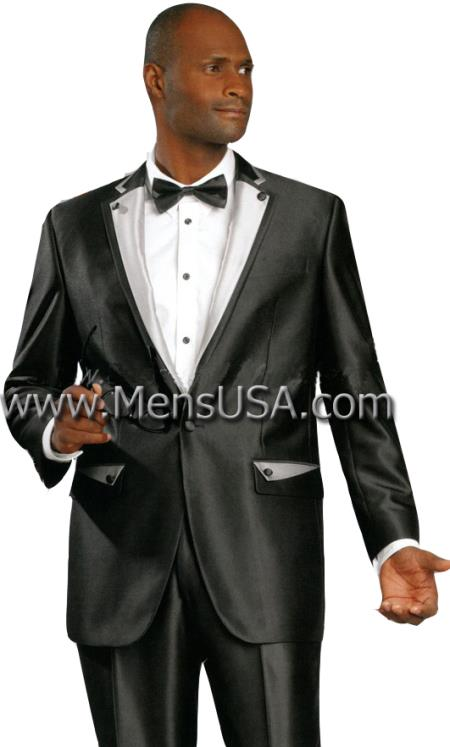 SKU#YY7 2 Button Shiny Sharkskin Satin Metallic Available in Black or Red or Champagne 2 Tone Suit $595