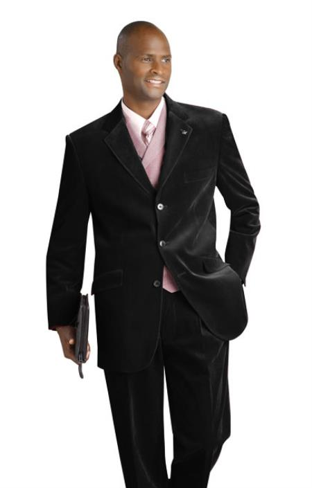 SKU#DEV55 3 Button Velvet Velour Fabric Distinctive Feel 3PC Vested Suit Black $199