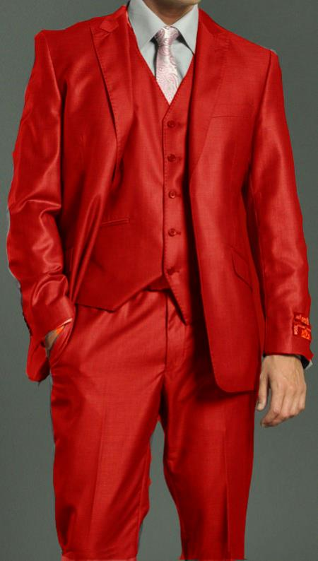 SKU#EWS88 Mens Two Button Vested Shiny Flashy Metallic Red Satin Bright Glossy Face Suit $275