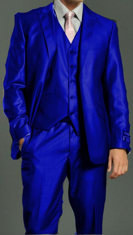 SKU#GVH42 Mens Two Button Vested Shiny Flashy Metallic Royal Blue Satin Bright Glossy Face Suit $275