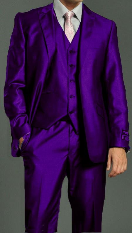 SKU#PRL822 Mens Two Button Vested Shiny Flashy Metallic Purple Satin Bright Glossy Face Suit $275