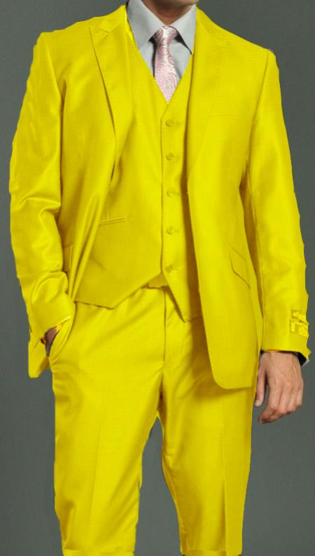 SKU#EXC99 Mens Two Button Vested Shiny Flashy Metallic Yellow Satin Bright Glossy Face Suit $275
