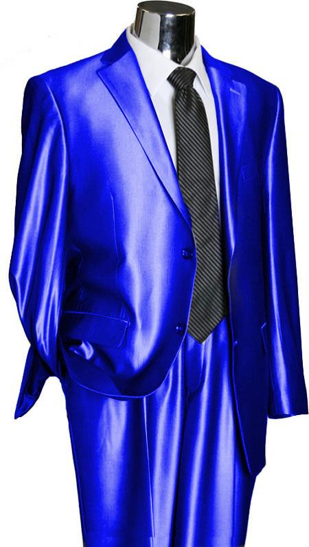 SKU#RYL43 Utex Shiny 2 Button Royal TNT Sharkskin Mens Suit $189