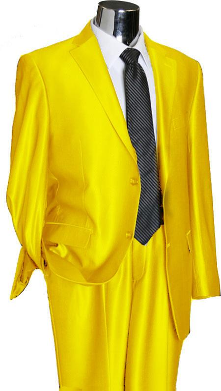 SKU#YLU44 Utex Shiny 2 Button Yellow TNT Sharkskin Mens Suit $225