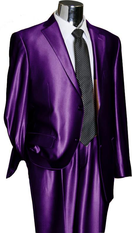 SKU#PRL22 Utex Shiny 2 Button Purple TNT Sharkskin Mens Suit $225