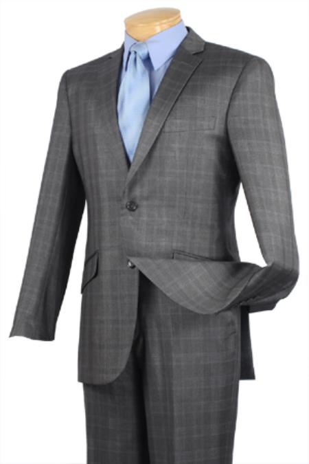 SKU#FRB55 Single Breasted 2 Button Slim Fit affordable suit online sale Charcoal Plaid ~ Windowpane pattern