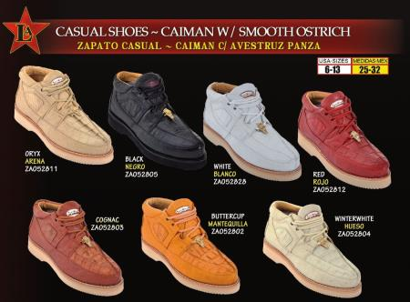 SKU#EWQ2 Los Altos Mens Genuine Caiman w/ Smooth Ostrich Lace Up Casual Shoes $219