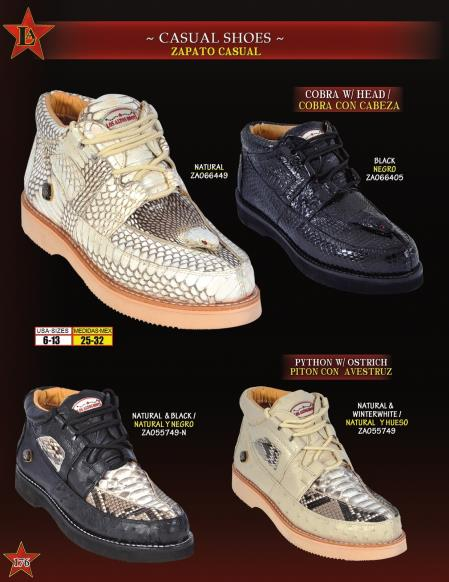 SKU#WER4 Oxfords High Top Exotic Skin Sneakers for Men Los Altos Mens Genuine Cobra w/ Head, Python ~ Snake, Ostrich Lace Up Casual Shoes $239