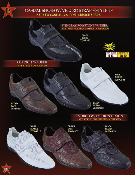 MensUSA.com Los Altos Mens Genuine Ostrich Stingray Velcro Strap Casual Sneakers Shoes(Exchange only policy) at Sears.com