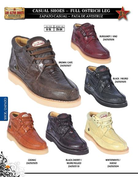 SKU#DXS11 High Top Exotic Skin Sneakers for Men Los Altos Full Genuine Ostrich Leg Mens Casual Shoe Diff. Colors/Sizes $219