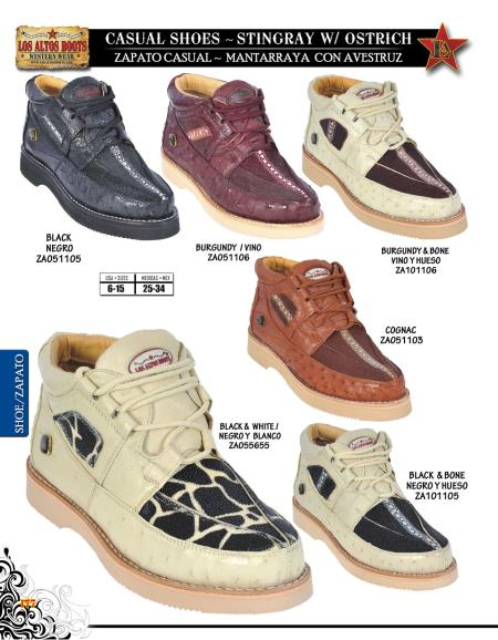 SKU#RFG5 High Top Exotic Skin Sneakers for Men Los Altos Genuine Stingray w/ Ostrich Mens Casual Shoe Diff. Colors/Sizes