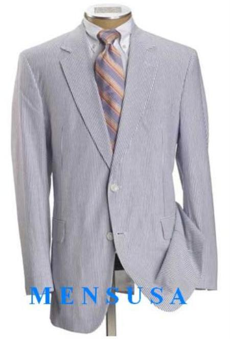 SKU# JOSEM2568 Causal White & Sky Blue Pinstripe Seersucker Summer Suits 2 Button Cotton Summer Suit