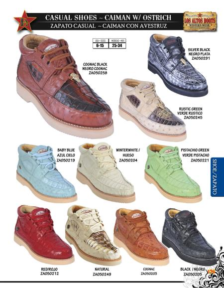 SKU#BHU5 High Top Exotic Skin Sneakers for Men Los Altos Genuine caiman ~ alligator w/ Ostrich Mens Casual Shoe Diff. Colors/Sizes