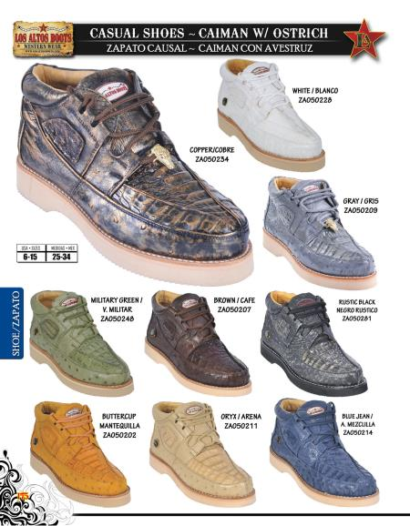SKU#JNG43 High Top Exotic Skin Sneakers for Men Los Altos Genuine caiman ~ alligator w/ Ostrich Mens Casual Shoe Diff. Colors/Sizes $239