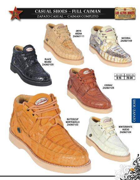 SKU#KLN4 Los Altos Full Genuine caiman ~ alligator Mens Casual Shoe Diff. Colors/Sizes $245