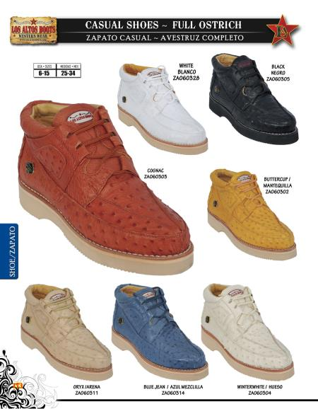 SKU#SXD9 High Top Exotic Skin Sneakers for Men Los Altos Full Genuine Ostrich Mens Casual Shoe Diff. Colors/Sizes $239
