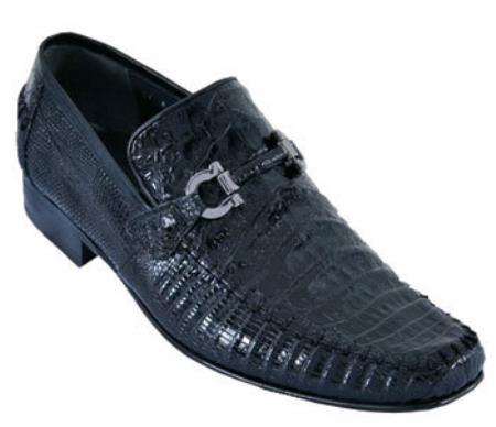 SKU#IKN7 Mens Handmade Shoes Los Altos Casual Loafers caiman ~ alligator Lizard Leather Slip On ~ Loafer Black $259