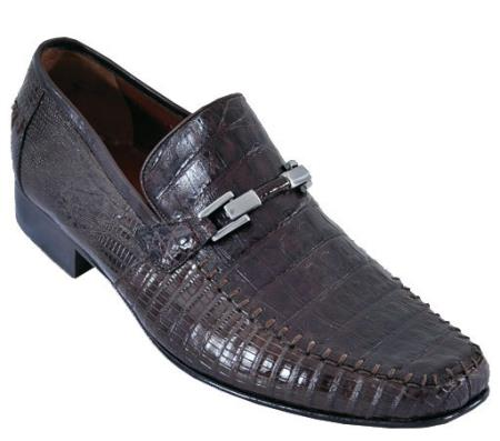 SKU#BML77 Mens Handmade Shoes Los Altos Casual Loafers caiman ~ alligator Lizard Leather Slip On ~ Loafer Brown $259