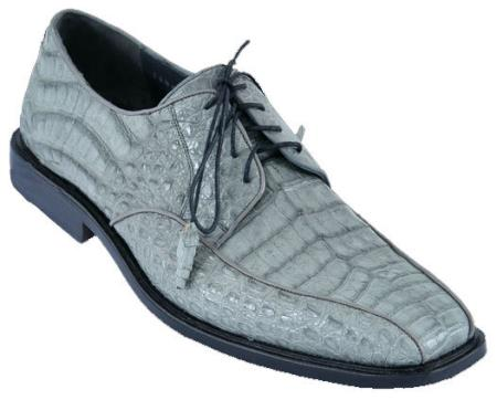 SKU#XCV66 Mens Dress Shoes Los Altos Handmade Genuine Leather Caiman Skin Lace Up Gray $259
