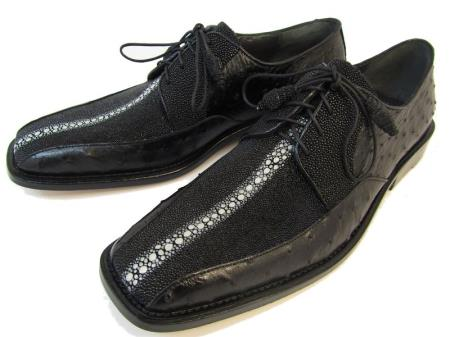 SKU#CRP8 Mens Stingray/Ostrich Dress Shoes by Los Altos Boots Black $249