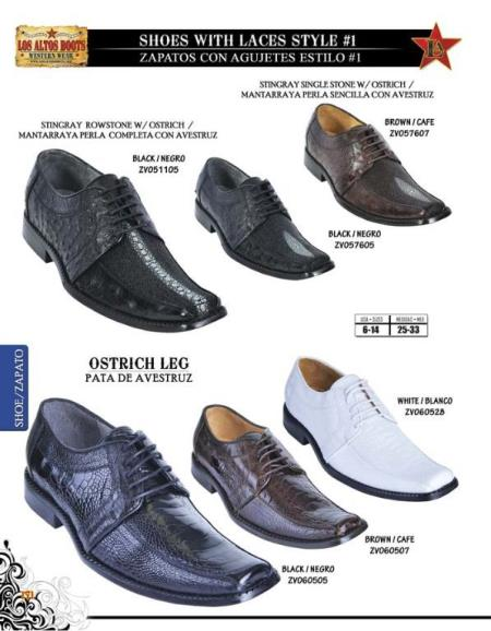 SKU#DBQ4 Mens Exotic Stingray Rowstone W/Ostrich Dress Shoes by Los Altos $279