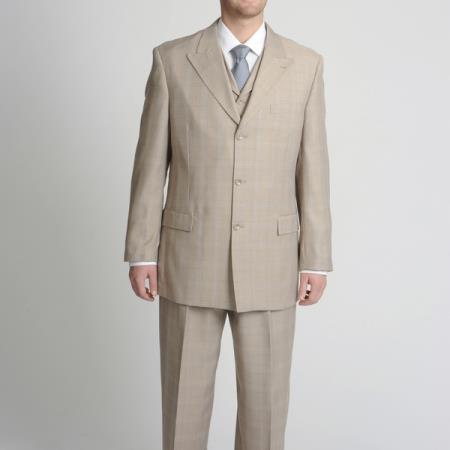 SKU#VEW64 Peak Pointed English Style Lapel Mens Tan Tonal Glen Plaid Vested three piece suit $175