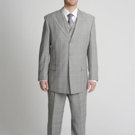 SKU#FAA2 Peak Pointed English Style Lapel Mens Light Grey Tonal Plaid Vested three piece suit $175
