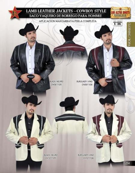 SKU#J987 Stingray Jacket Long Application Lamb Leather Jacket Cowboy Style by Los Altos $479