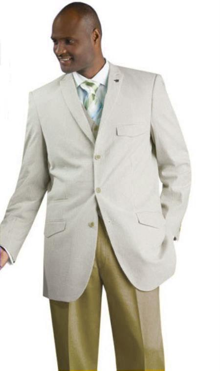 SKU#JKAM4 Mens Vested Seersucker Suit Available in Tan Color $175