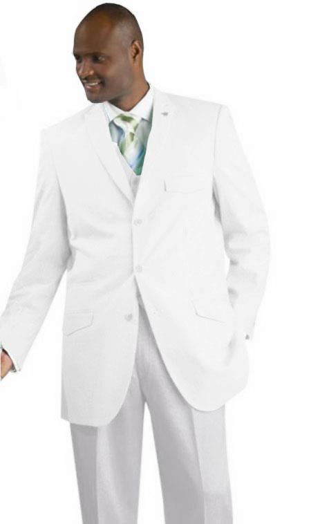 SKU#WQZ12 Mens Vested Seersucker Suit Available in White Color