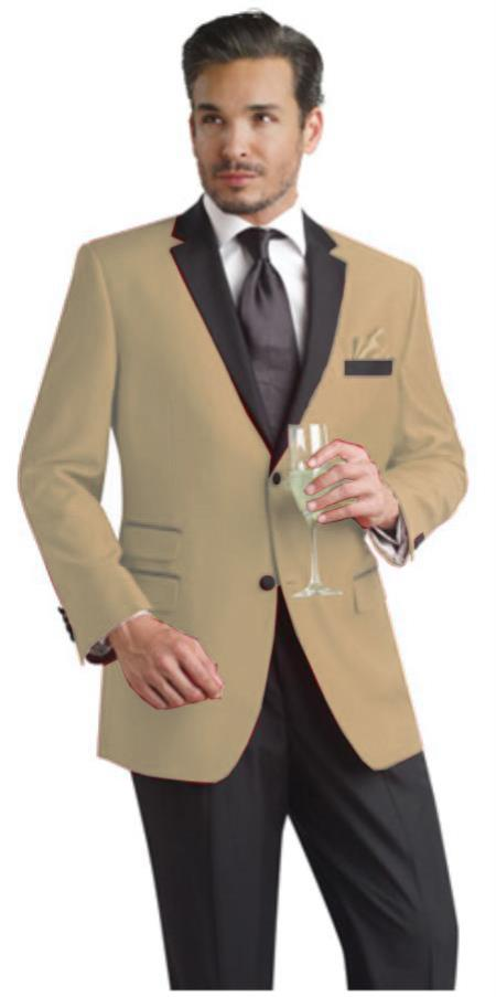 SKU#JZS33 Tan ~ Beige Two Button Notch Party Suit & Tuxedo & Blazer w/ Black Lapel $595