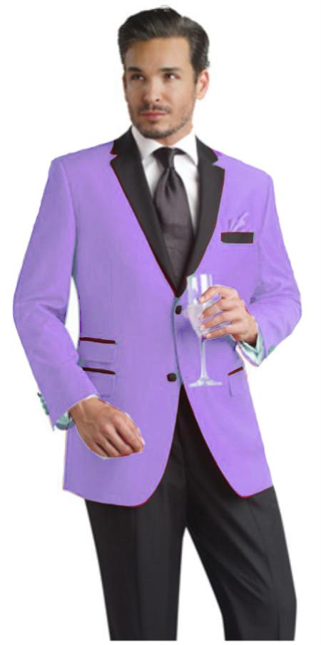 SKU#VXZ99 Lavender Two Button Notch Party Suit & Tuxedo & Blazer w/ Black Lapel
